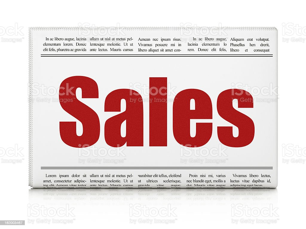 Marketing news concept: newspaper headline Sales royalty-free stock photo
