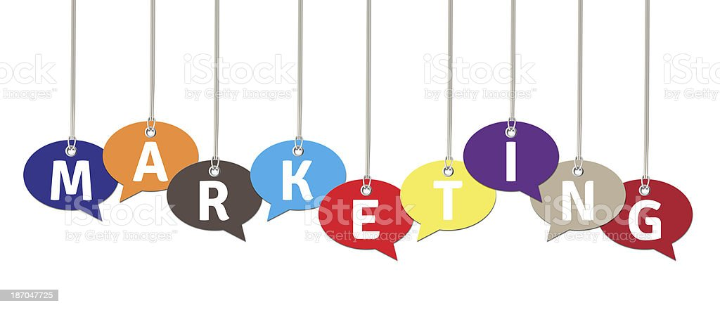 Marketing on Colorful Speech Bubbles royalty-free stock photo