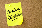 Marketing Orientation text written on yellow paper note