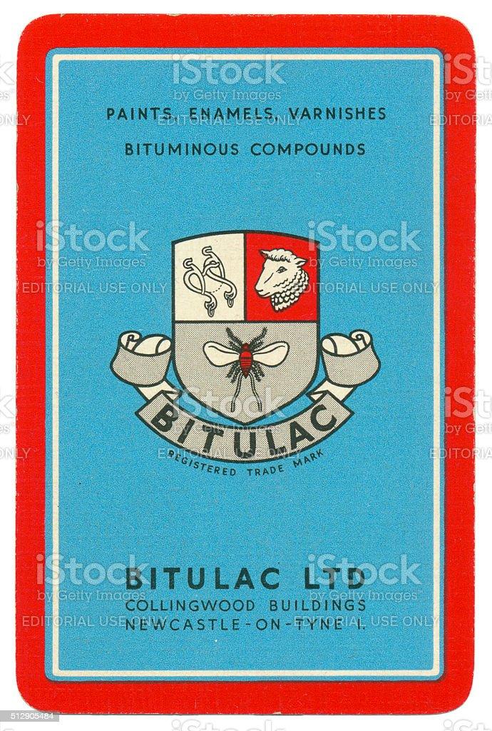 Marketing playing card back design Bitulac Ltd 1950 stock photo