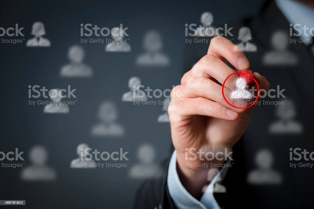 Marketing segmentation and leader stock photo