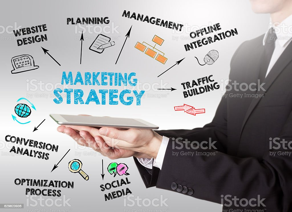 Marketing Strategy Business concept, young man holding a tablet computer stock photo