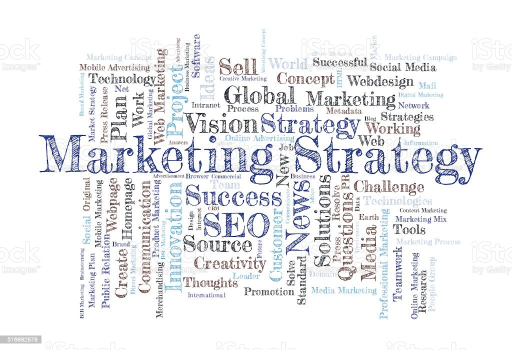 Marketing Strategy word cloud stock photo