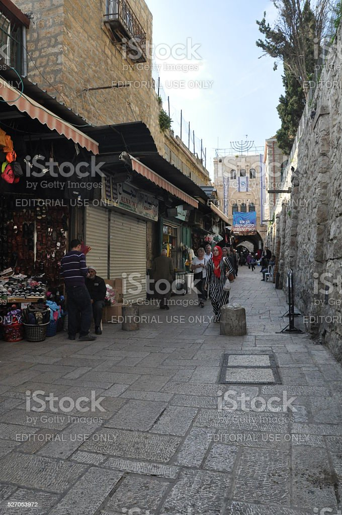 Marketplace in the Islamic Quarter of the Old City stock photo