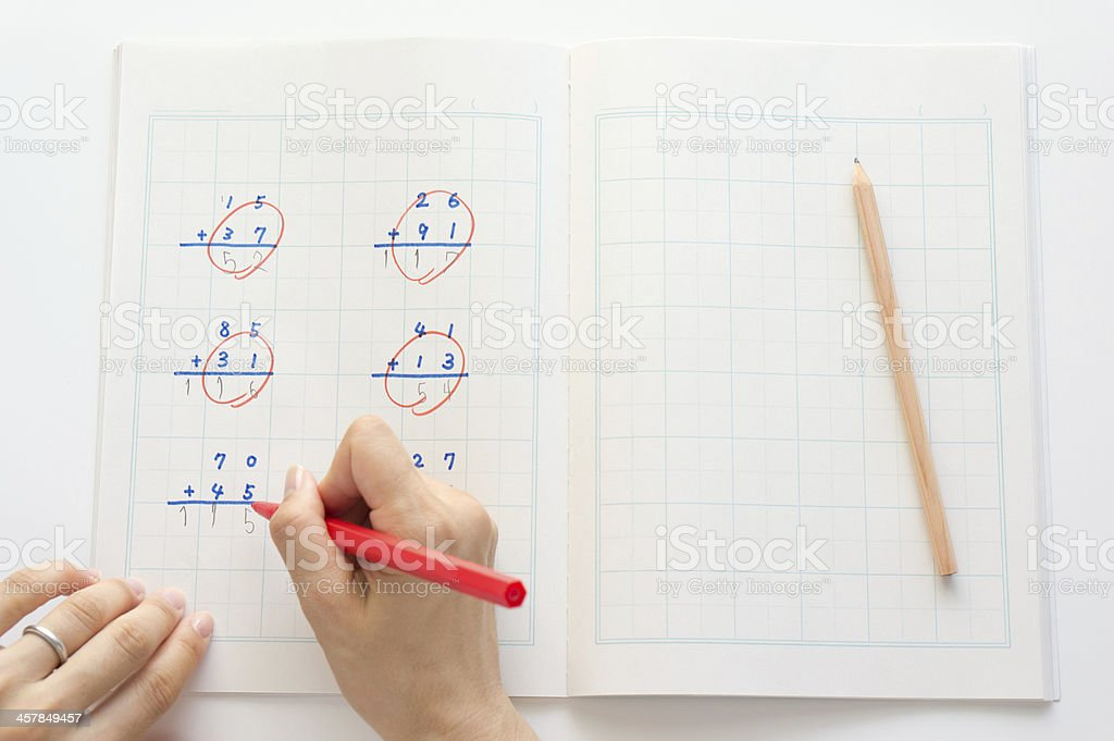 Marking of the answer stock photo