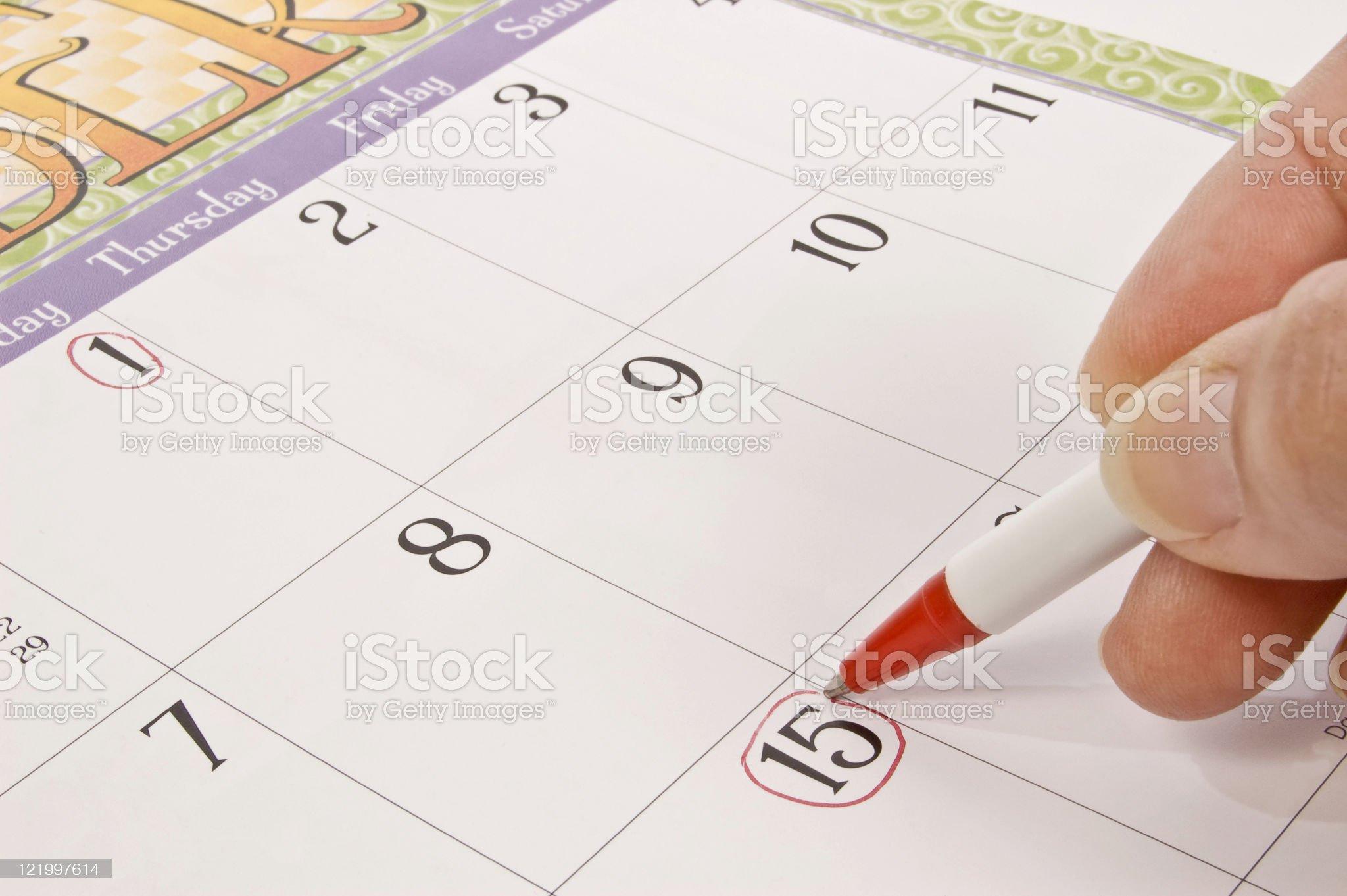 Marking The Calendar royalty-free stock photo