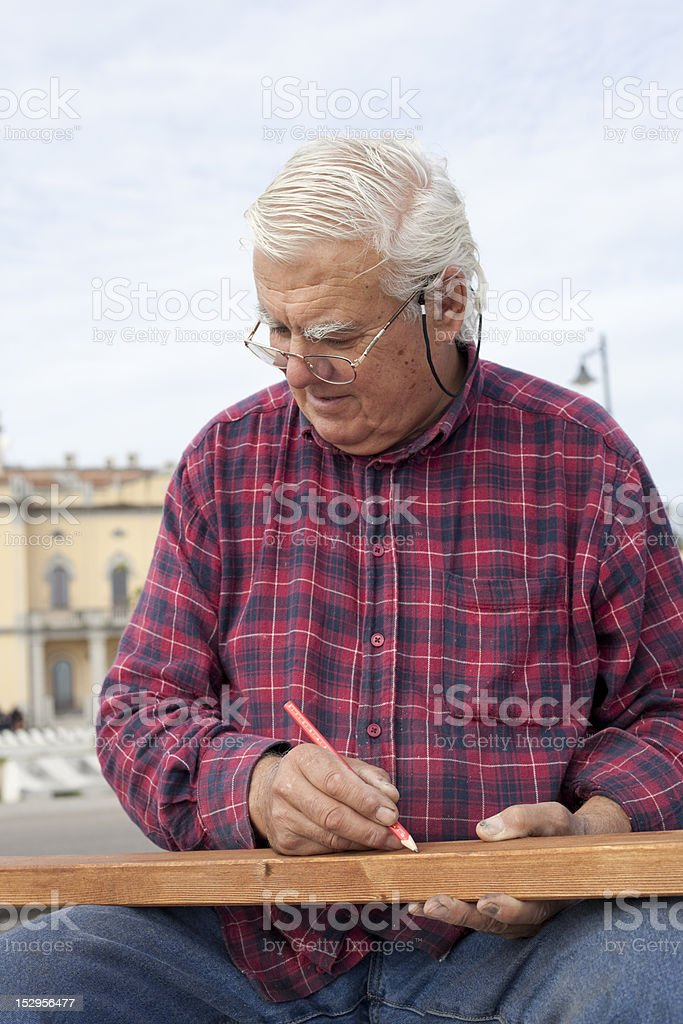 Marking the wood. royalty-free stock photo