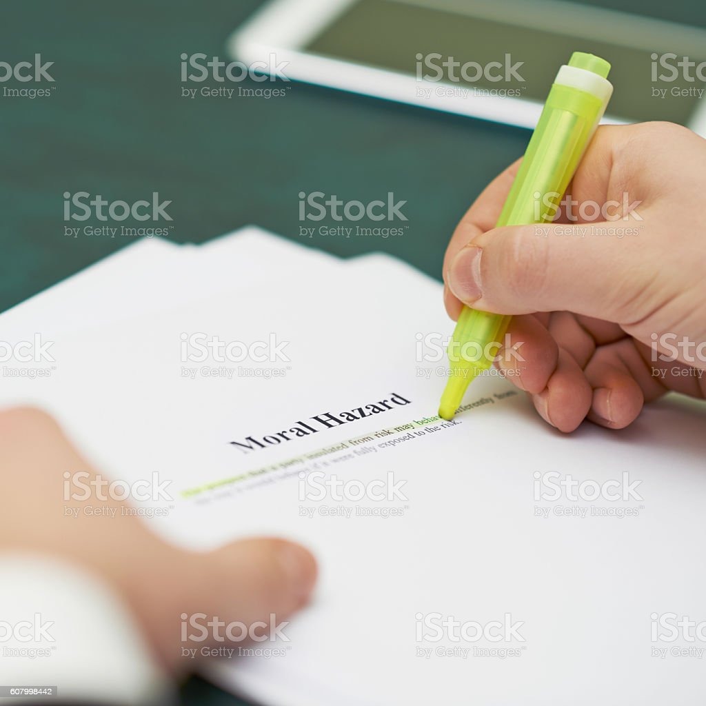 Marking words in a moral hazard definition stock photo