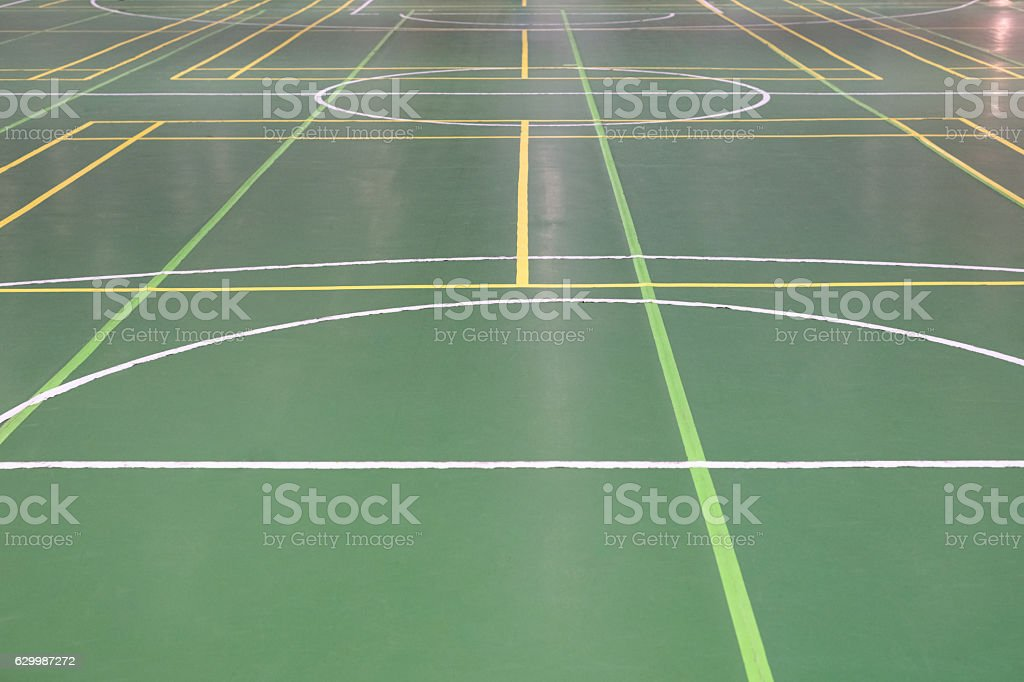 markings on the floor in the gym stock photo