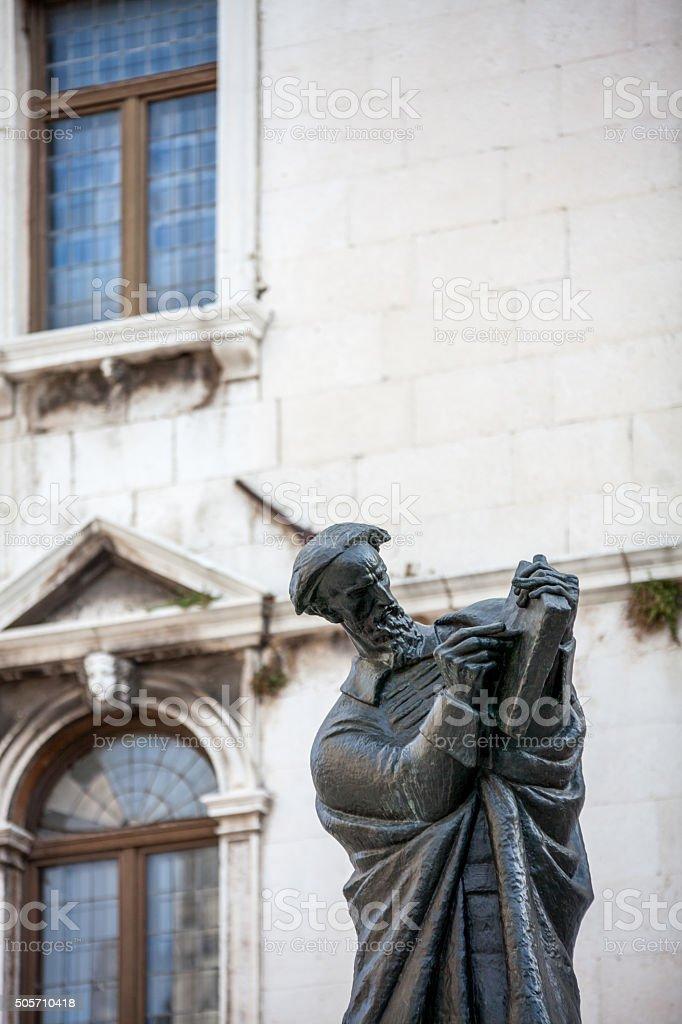 Marko Marulić statue in Split stock photo