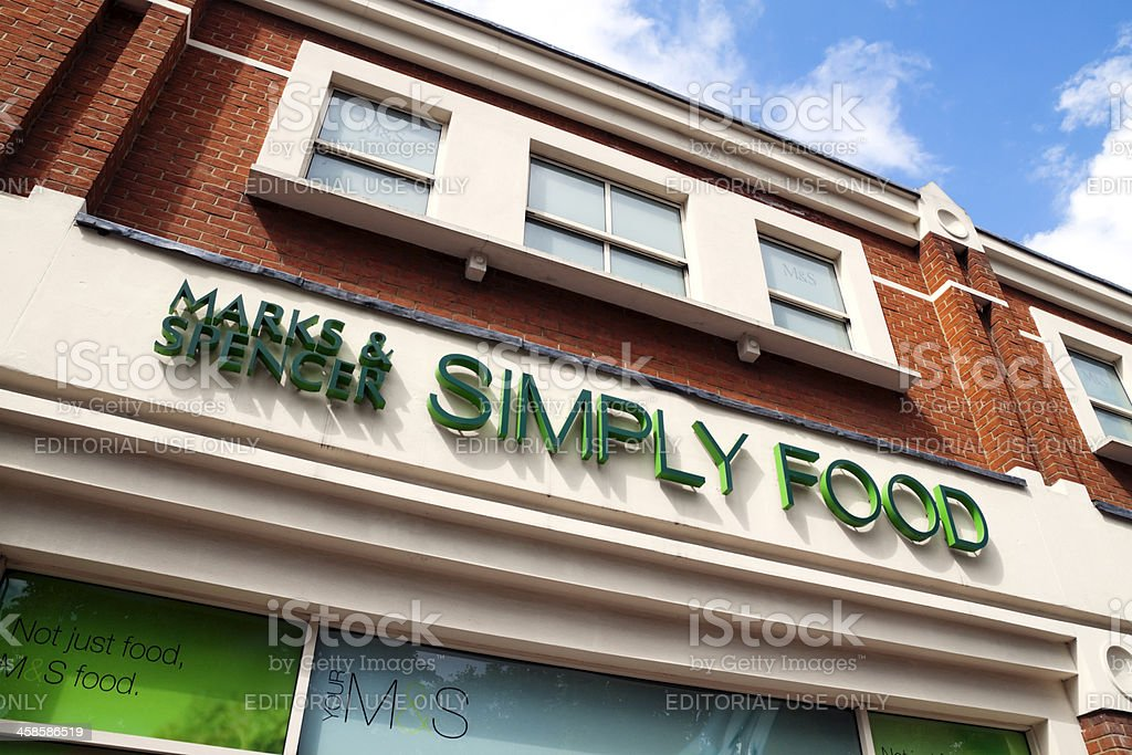 Marks & Spencer Simply Food shop sign stock photo