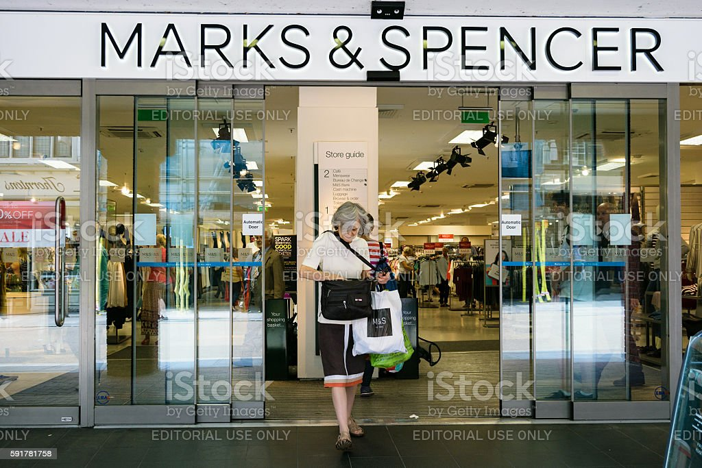 Marks and Spencer shop front stock photo