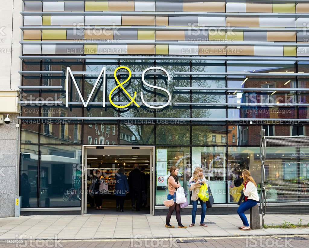 Marks and Spencer store with shoppers, Norwich stock photo