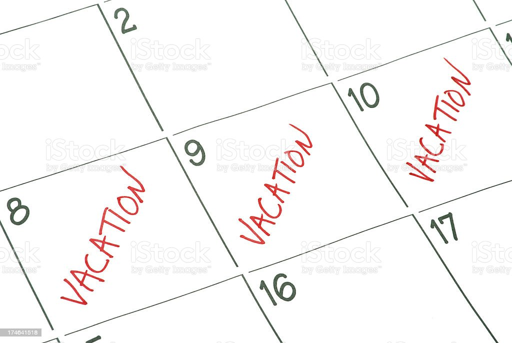 A marks calendar representing the days of a vacation stock photo