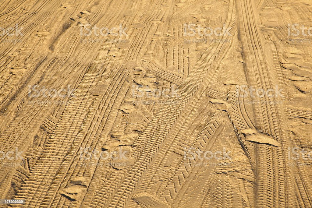 marks of tires in the sand royalty-free stock photo