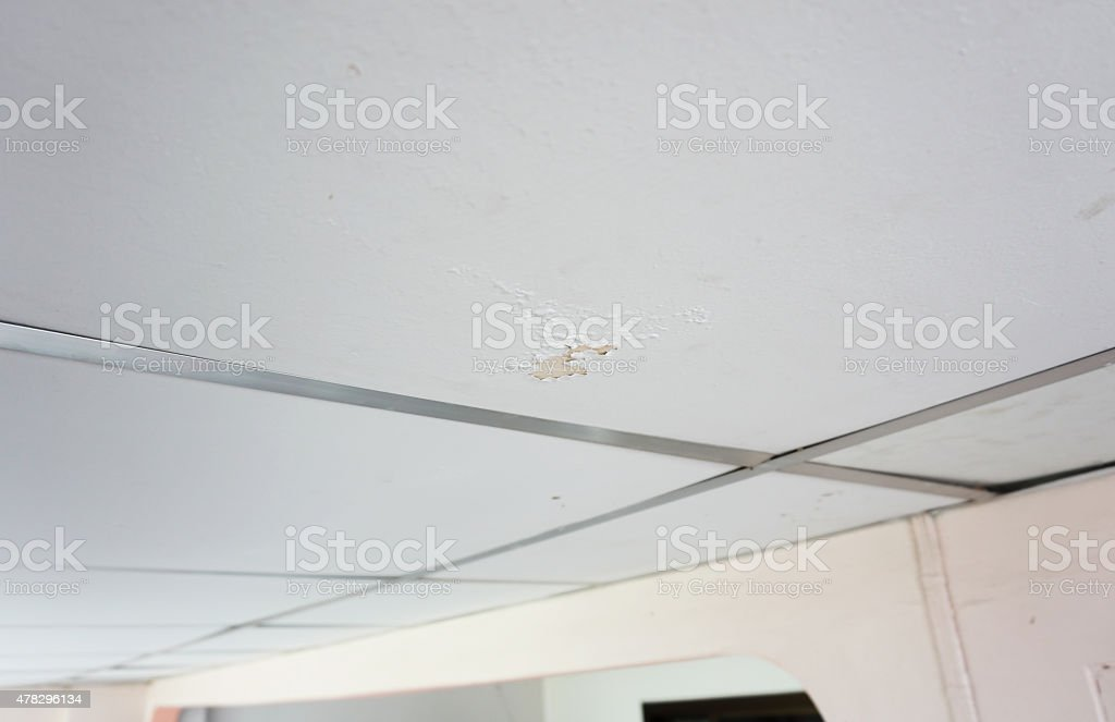 Marks on ceilings from water erosion. stock photo