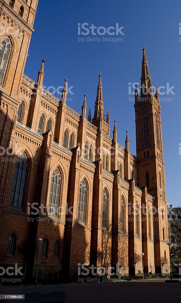 Marktkirche Wiesbaden - expressive lighting and shadows stock photo