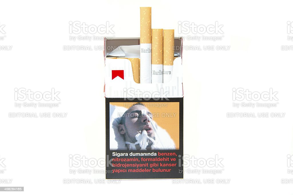 Marlboro Cigarette Pack isolated on white stock photo