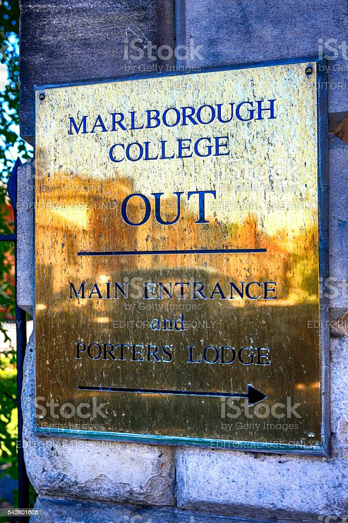 Marlborough College brass sign, UK stock photo