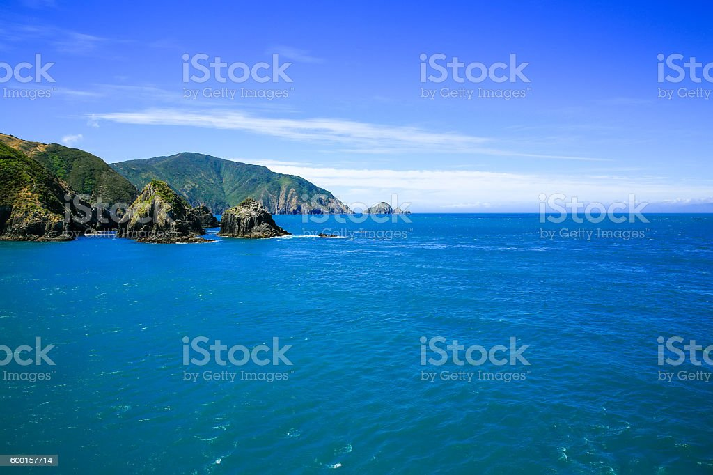 Marlborough Sound, New Zealand stock photo