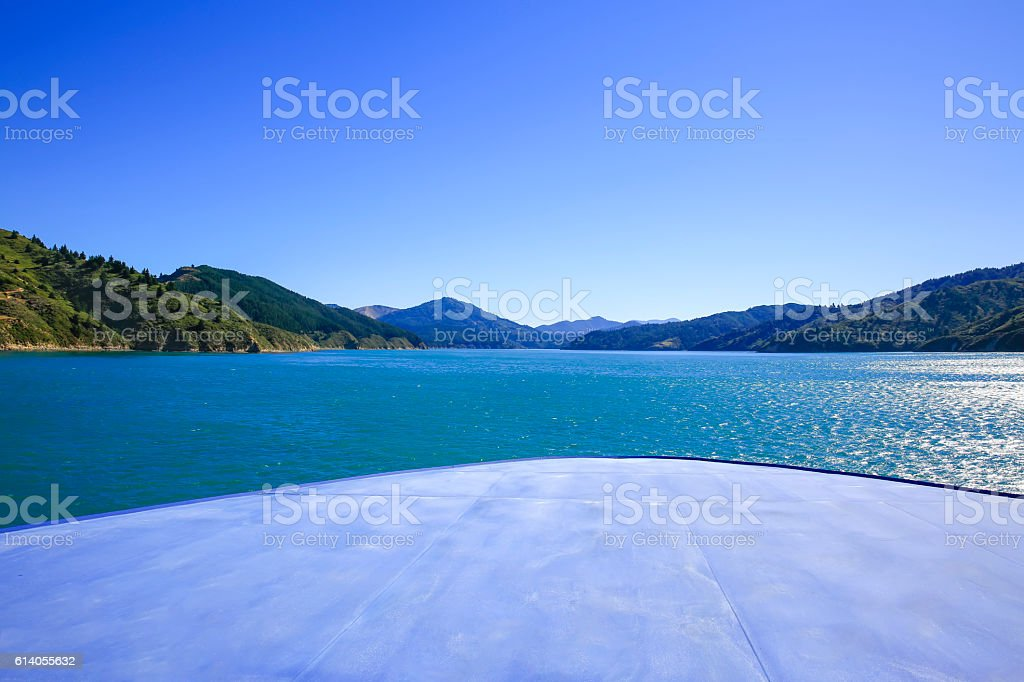 Marlborough Sounds seen from ferry New Zealand stock photo