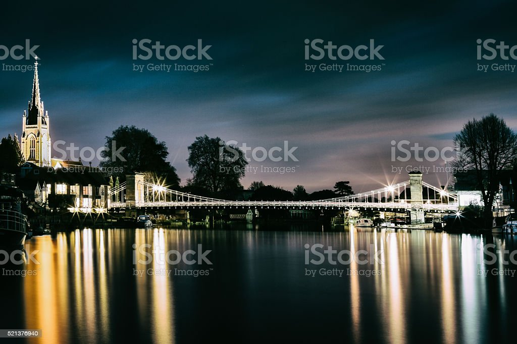 Marlow Bridge at night stock photo