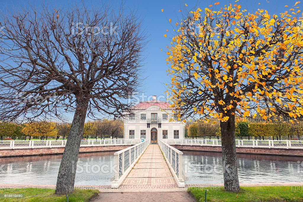 Marly Palace in Lower Gardens of Peterhof (near St. Petersburg) stock photo