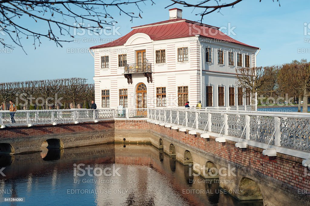 Marly Palace in Peterhof, St. Petersburg, Russia stock photo