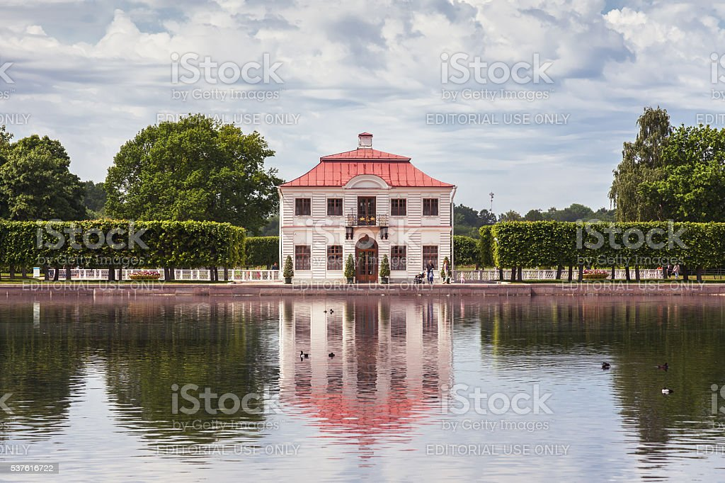 Marly Palace in the Lower Gardens of Peterhof, Russia stock photo