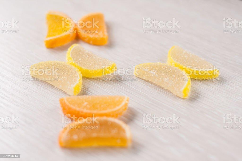 Marmalade lemon wedges lies in the shape of butterflies stock photo