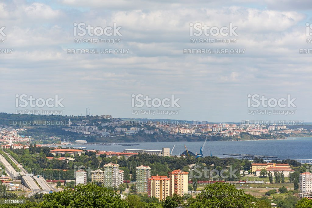 Marmara sea coast near downtown citycenter of tekirdag turkey stock photo