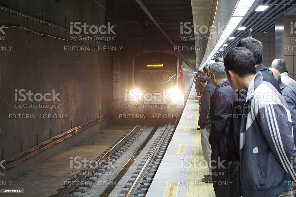 Marmaray Train is approaching to the station royalty-free stock photo