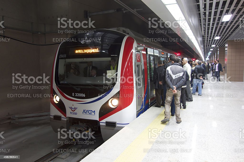 Marmaray Train is at the station royalty-free stock photo