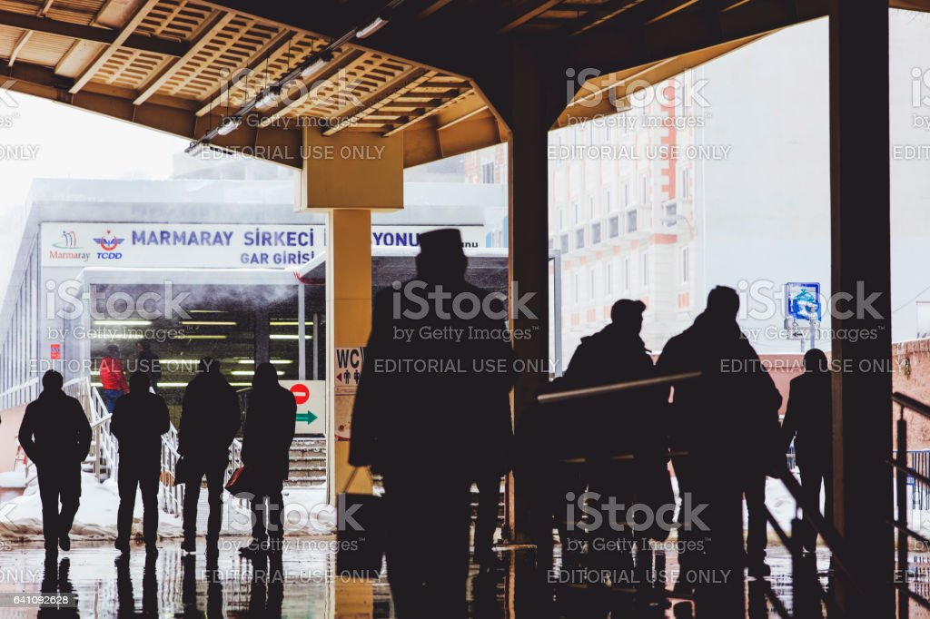 Marmaray tunnel entry on a snowy day stock photo