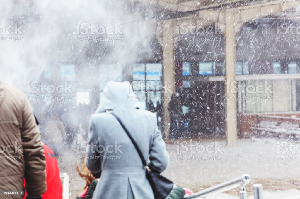 Marmaray tunnel exit on a snowy day stock photo