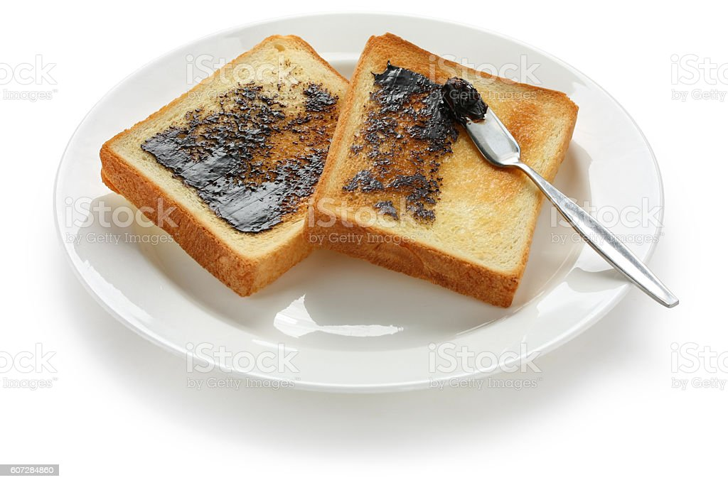 marmite toast stock photo