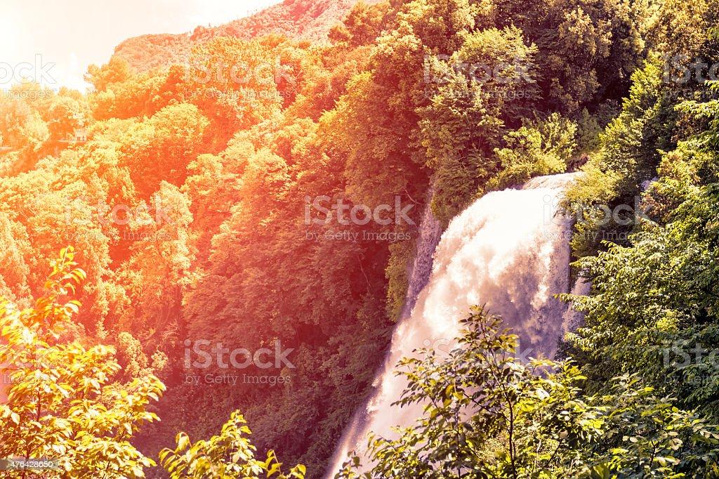 Marmore's waterfalls (Terni - Italy) with sunlight stock photo