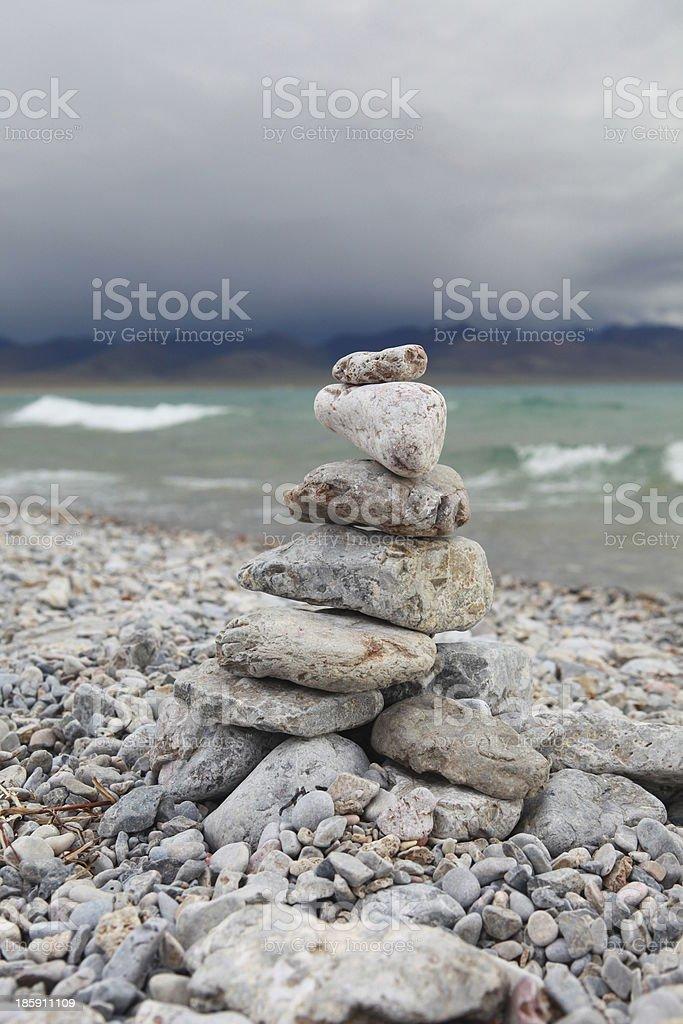Marnyi Stone near Namtso Lake stock photo