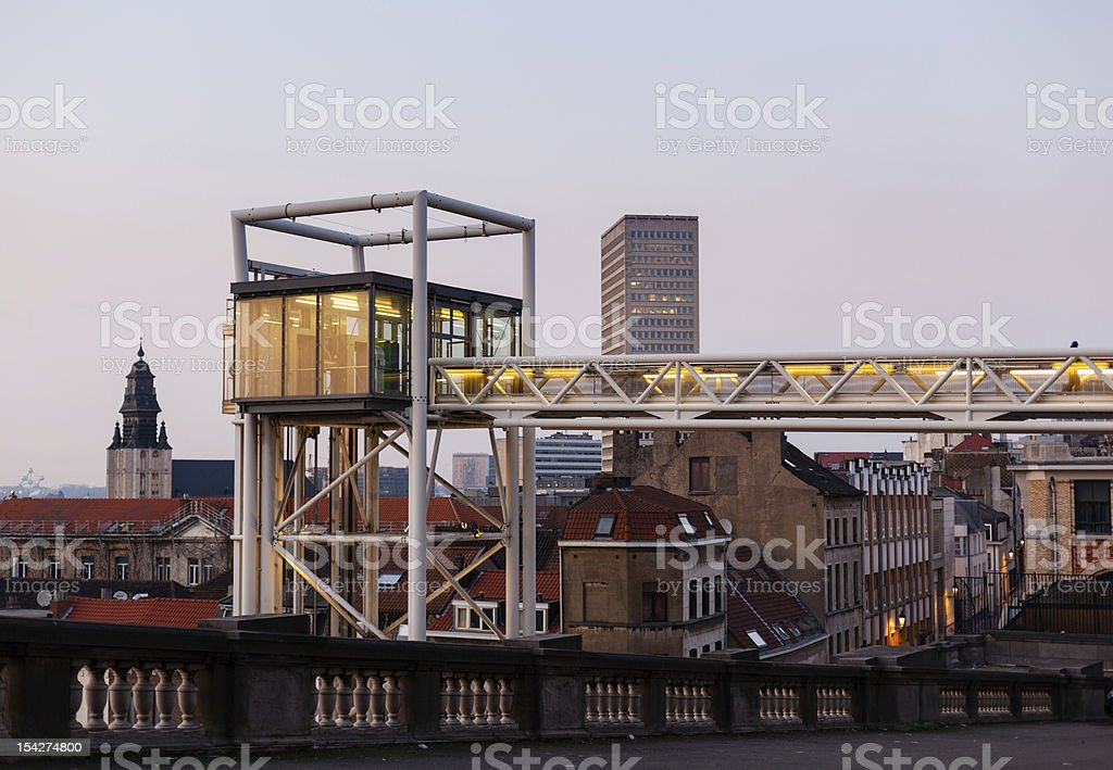 Marollen Lift in Brussels at dusk royalty-free stock photo
