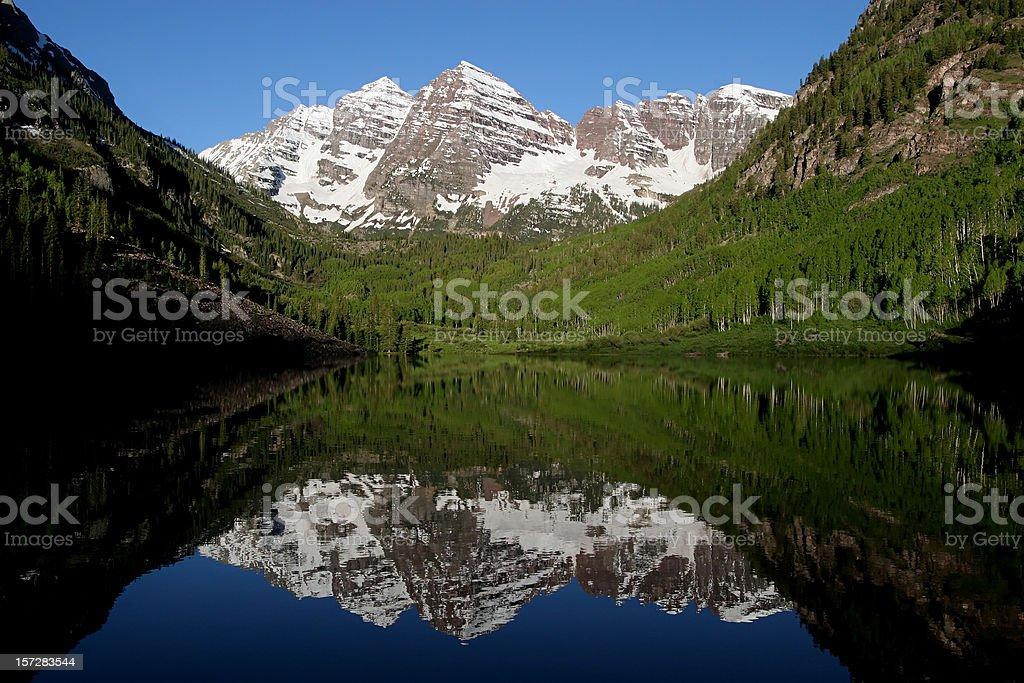 Maroon Bells and Lake stock photo