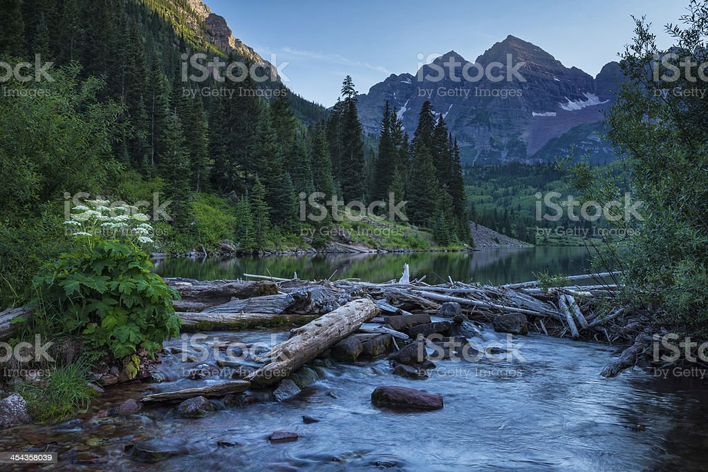 Maroon Bells And Pyramid Peak Reflection royalty-free stock photo