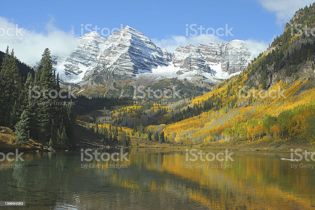 Maroon Bells, Autumn Reflections stock photo