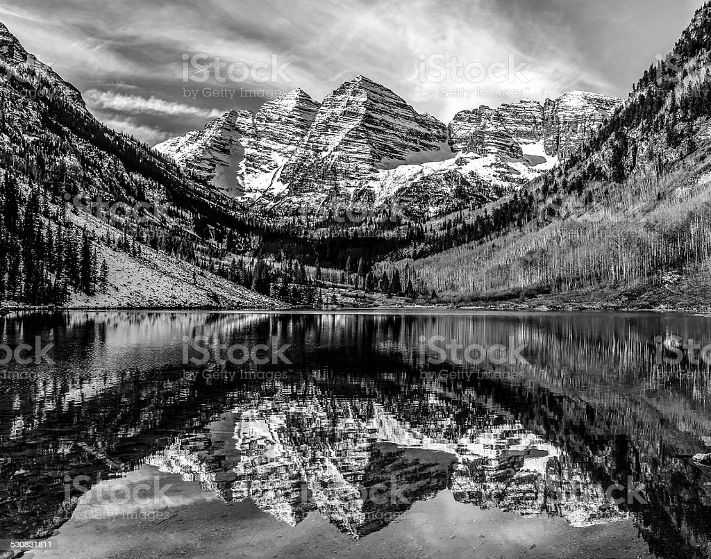 Maroon Bells in Black and White stock photo