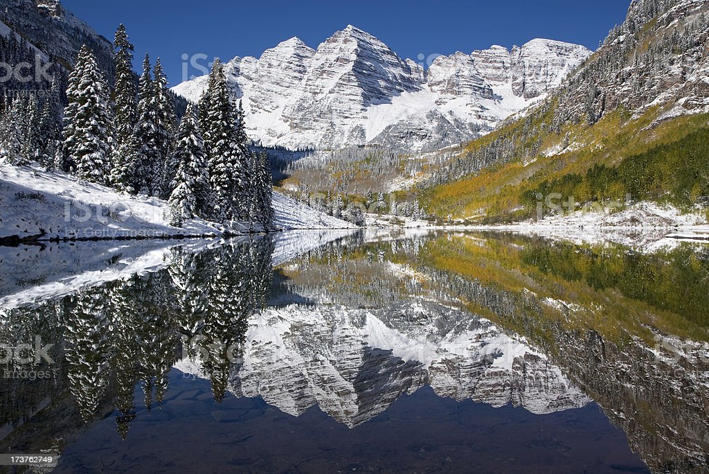Maroon Bells October Snow and Reflections royalty-free stock photo