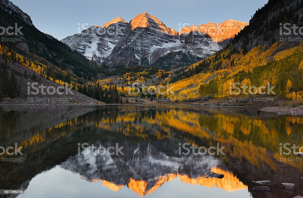 Maroon bells peak sunrise Aspen Fall Colorado stock photo