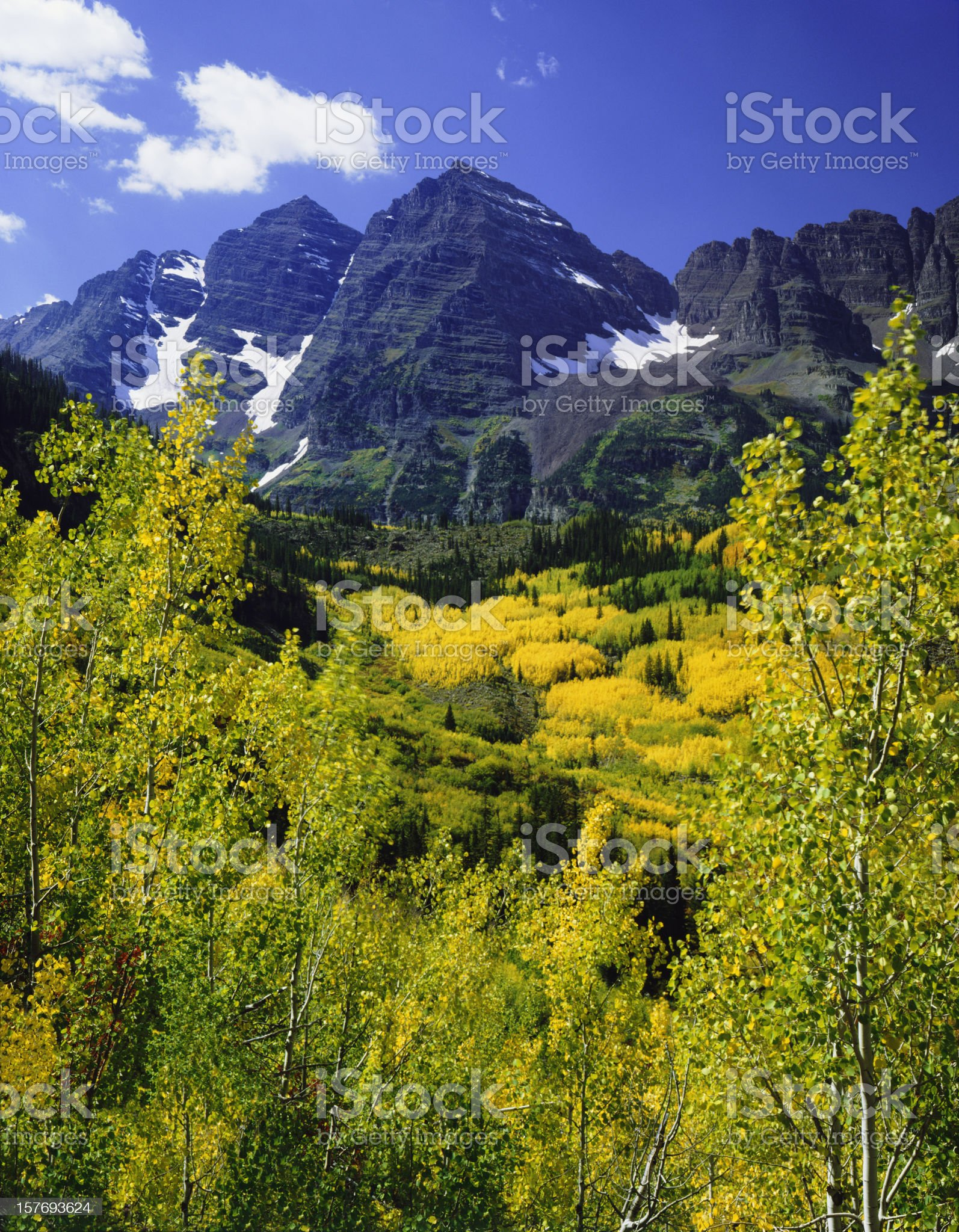 Maroon Bells With Autumn Aspen Trees royalty-free stock photo