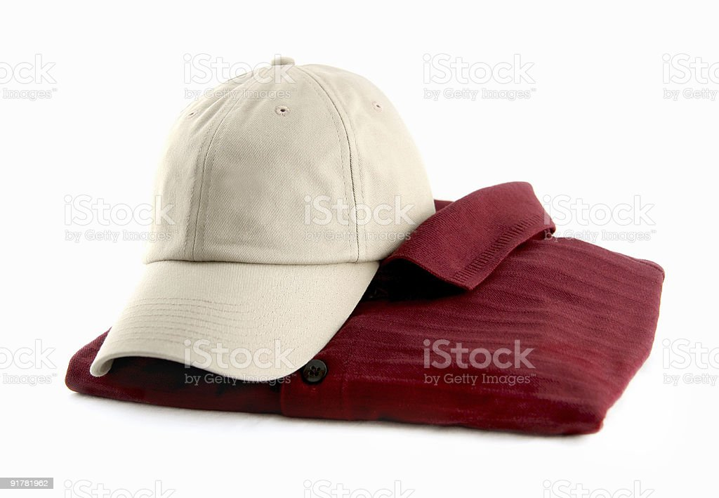 maroon shirt with tan hat stock photo