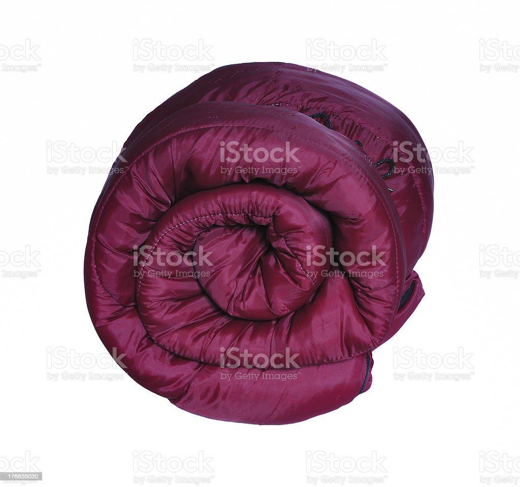 Maroon Sleeping Bag stock photo