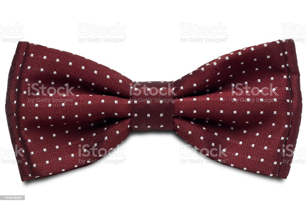 Maroon tie with white spots on a white background stock photo