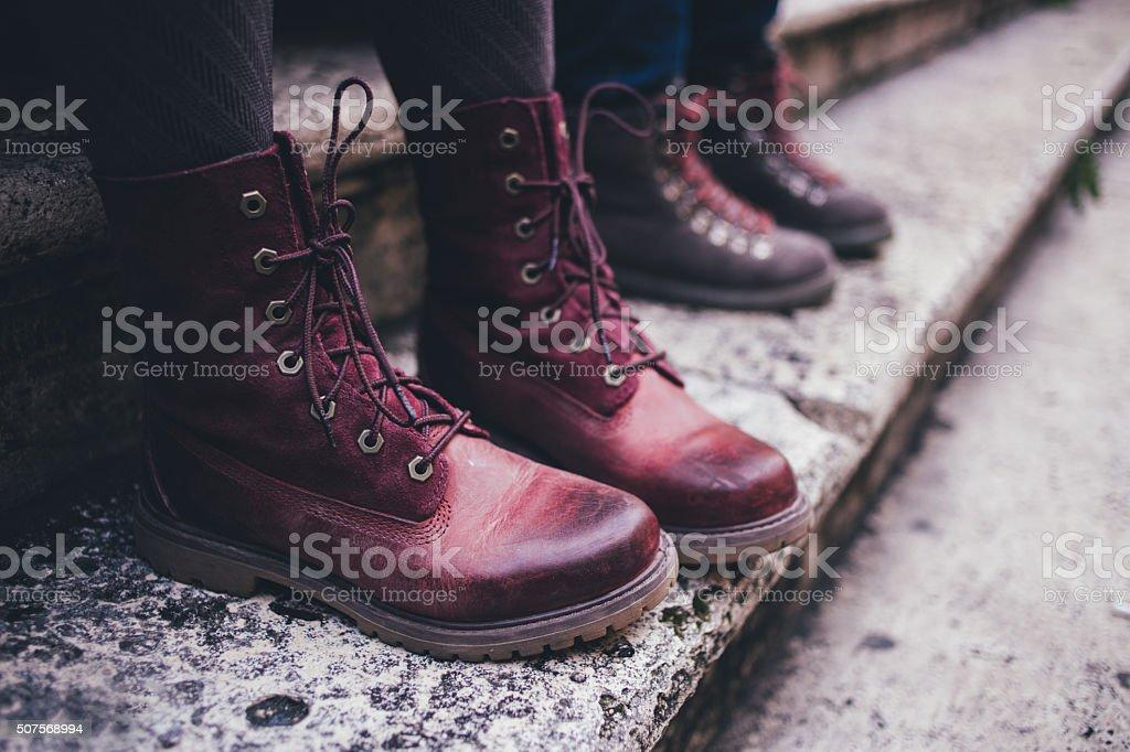 Maroon urban boots stock photo